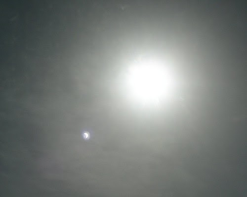 look at the blob of light in lower left, its a reflection of the eclipse