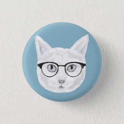 White Hipster Cat Wearing Glasses Button