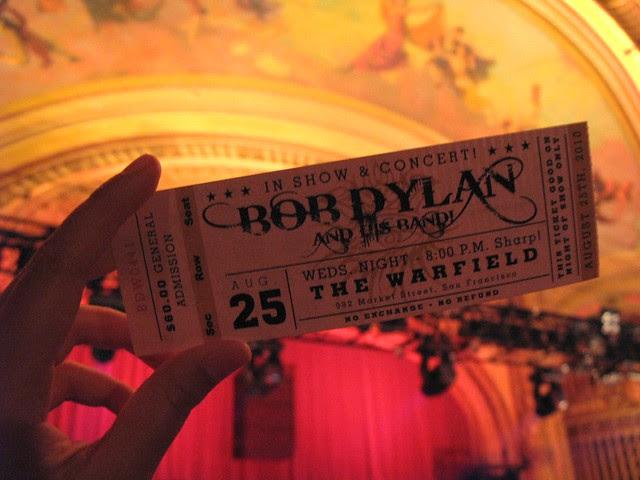 Bob Dylan & His Band concert @ The Warfield / San Francisco