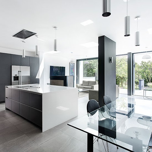 Modern grey-and-white kitchen | Open-plan kitchen design ideas | Decorating |
