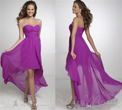 2015 High Low Purple Bridesmaid Dresses Cheap Chiffon