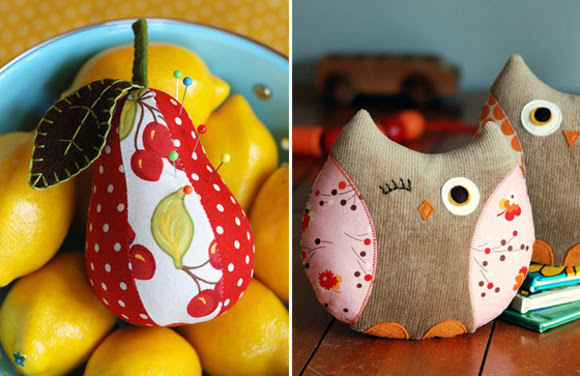 pear pincushion and owl softies sewing pattern by retro mama on etsy