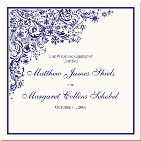 Winter Wedding Ceremony Program Snowflake Theme Wedding