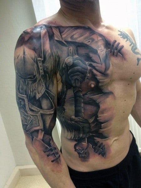 Luva do tatuagem do guerreiro da batalha