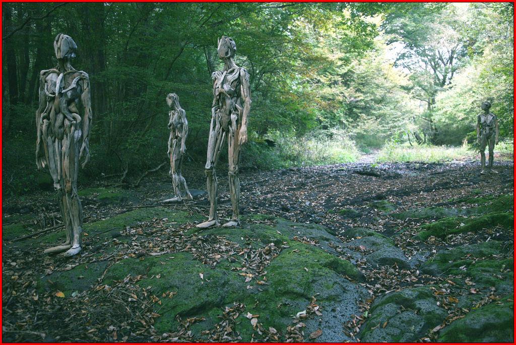 As inquietantes esculturas feitas com detrito de madeira no meio de bosque pelo japonês Nagato Iwasaki 15