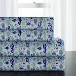 Hotel Coastal Microfiber Print Bed Sheet Set Clearwater Aqua Abstract