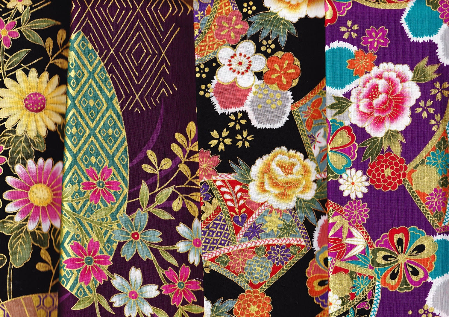 Japanese kimono cotton fabric 4 scraps  flower,