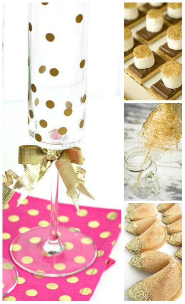 Gold + Pink Polka Dot decor!