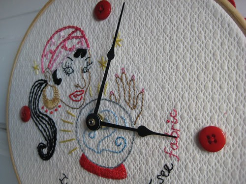 Time for Fabric Hoop oblique by Poppyprint