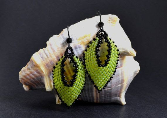 Beaded+Chartreuse+&+Black+Russian+Style+Leaves+by+IndigoRose,+$24.50
