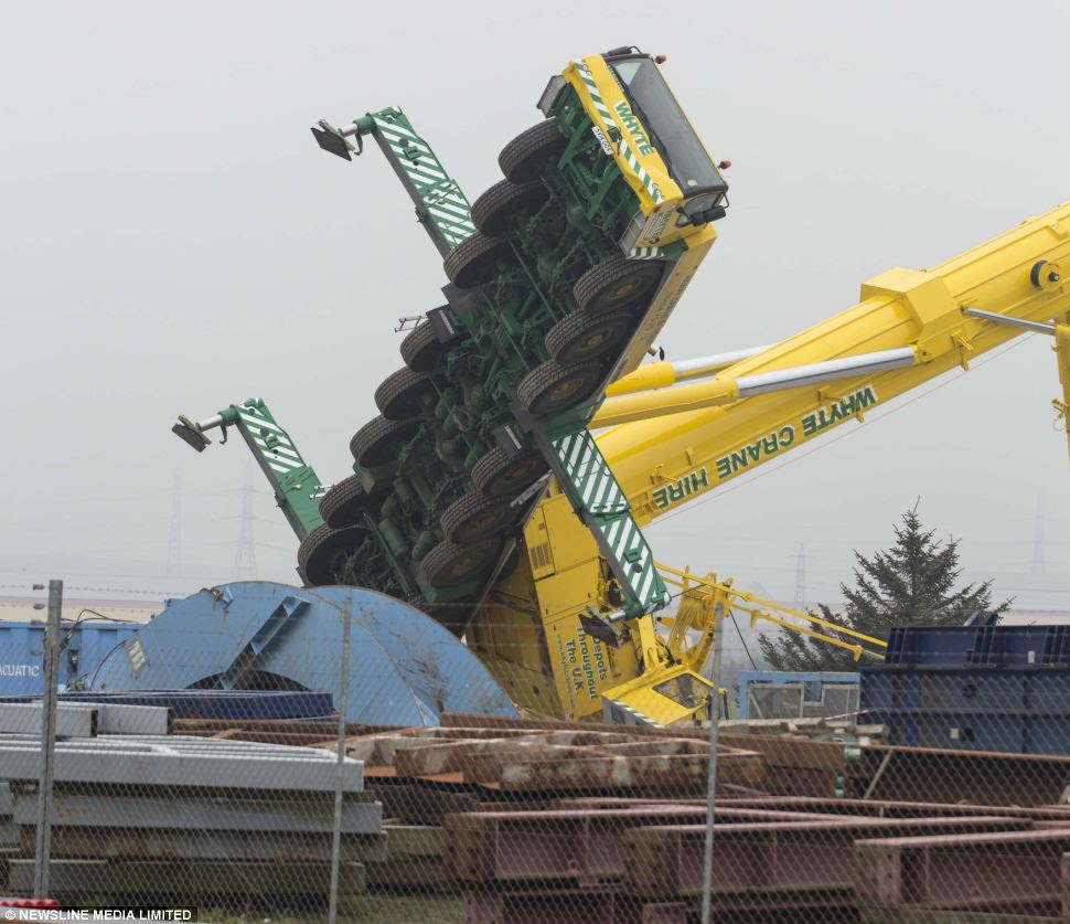 An industrial crane collapsed at Dales Park Industrial estate Peterhead, Aberdeenshire although fortunately no one was working in it at the time