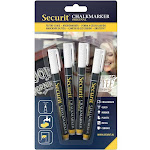 American Metalcraft BLSMA100V4WH Mini Tip Markers, 4-Pack, White