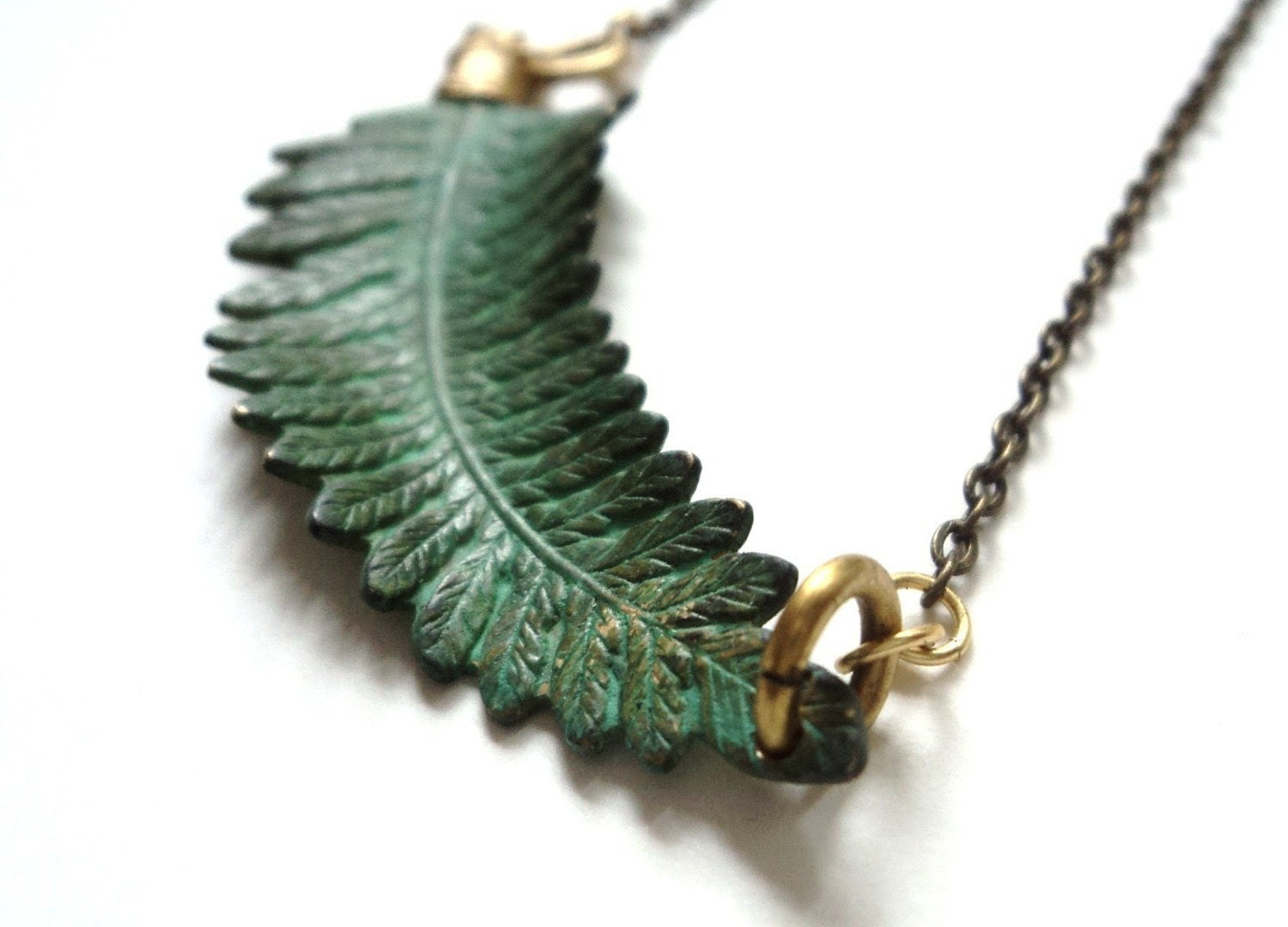 Necklace, Fern, Verdigris, Green, Nature, Woodland - SimoneSutcliffe