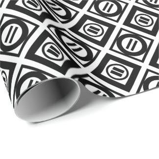 Stylish Black Geometric Pattern on White Wrapping Paper
