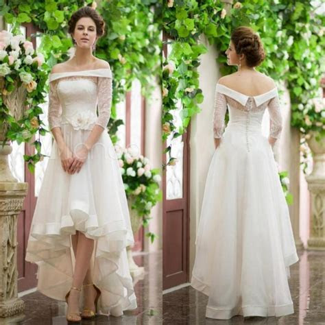 Fashion 3/4 Sleeve High Low Wedding Dresses Lace Ball Long