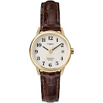 Women's Timex Easy Reader Watch with Leather Strap - Gold/Brown T20071JT - 30 - Solid