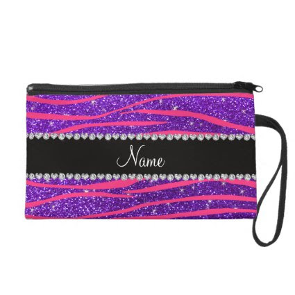 Custom name hot pink zebra stripes purple glitter wristlet purse