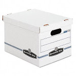 Bankers Box 0070308 Stor/File Storage Box- Letter/Legal- Lift-off Lid- White/Blue- 4/Carton