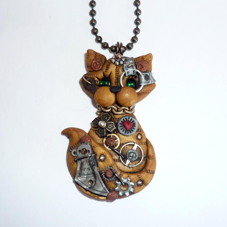*POLYMER CLAY ~ Steampunk Yellow Tabby Kitty Cat NecklacePolymer Clay Jewelry.