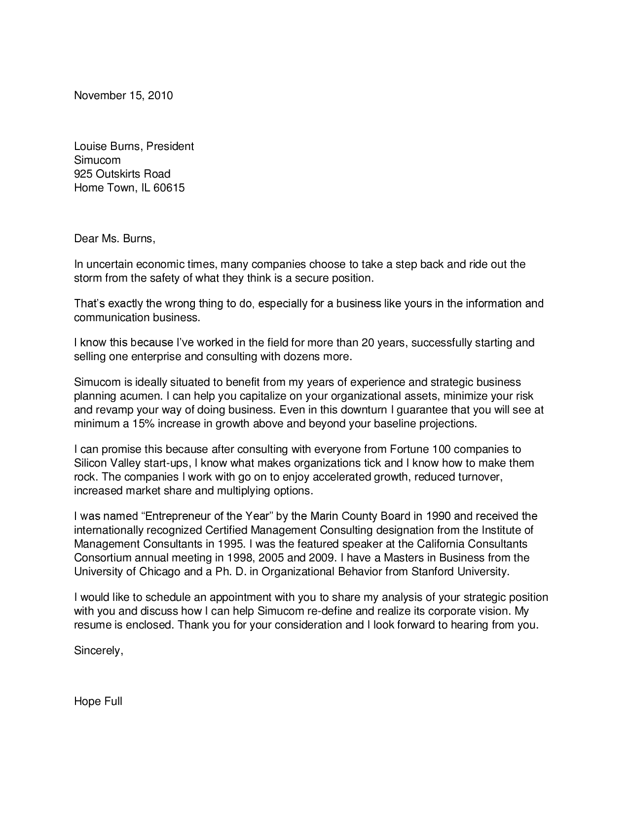TEXT VERSION OF THE CONSULTANT COVER LETTER SAMPLE
