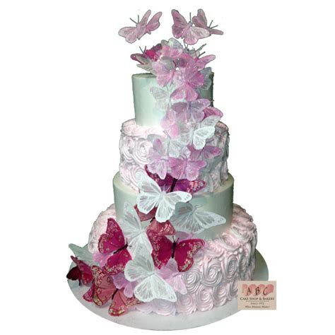 (1871) White & Pink Wedding Cake with Butterflies   ABC