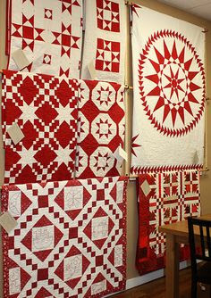 Red and white quilt show at Temecula Quilt Co.