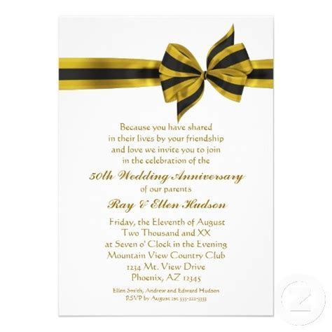 50th Wedding Anniversary Announcement Wording   Gold Bow