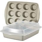 Rachael Ray Nonstick Bakeware Set, 3-Piece, Silver