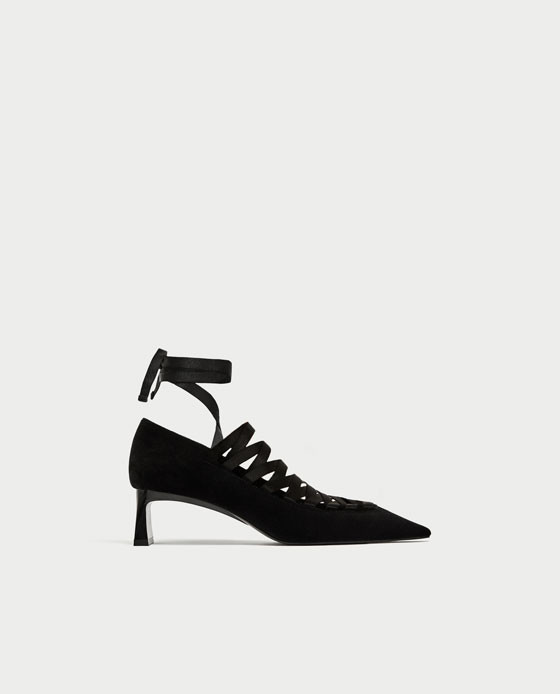 zapatos zara negros total black tacon