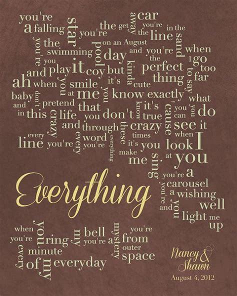Personalized Word Art   Wedding Song Lyrics   Everything
