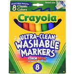 Crayola Broad Point Washable Markers, 8 Colors