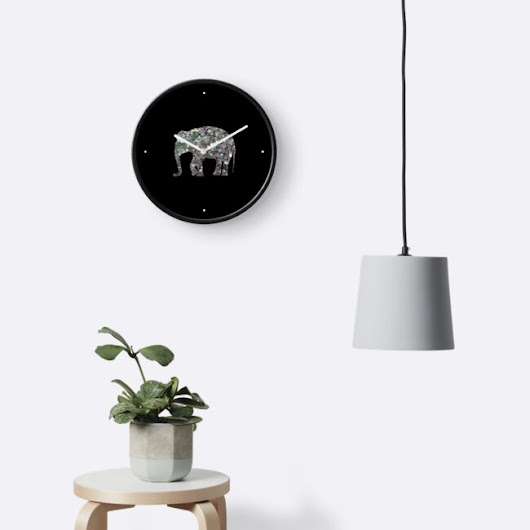 'Sparkly colourful silver mosaic Elephant' Clock by PLdesign