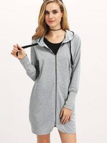 Grey Hooded With Zipper Sweatshirt