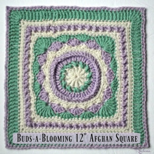 "Buds-a-Blooming 12"" Afghan Square - CrochetN'Crafts"