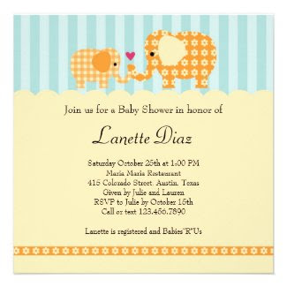 Elephants Unisex Baby Shower Invitation