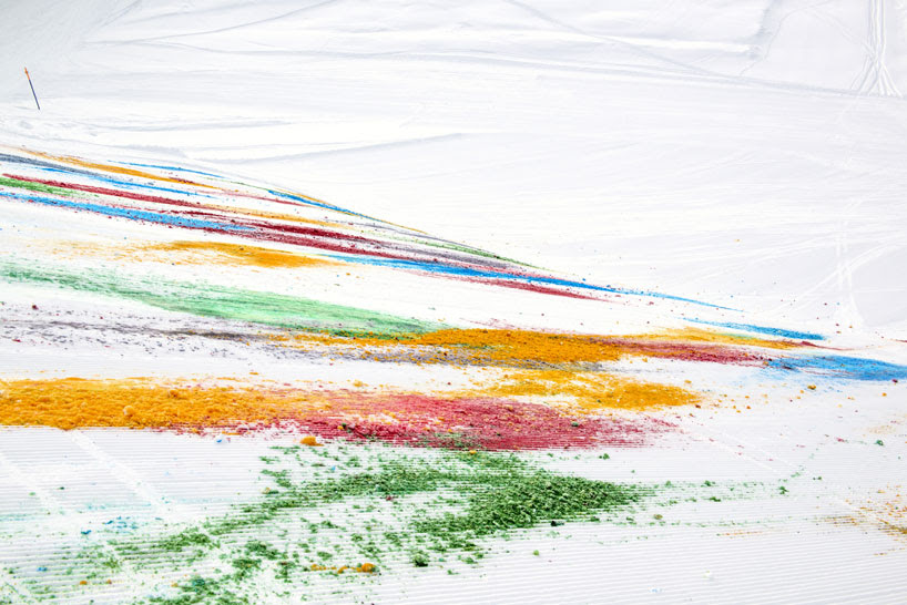 olaf breuning paints a mountain for snow drawing