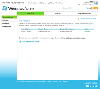 Windows Azure Portland Interface