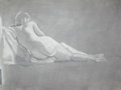 Reductive charcoal figure study