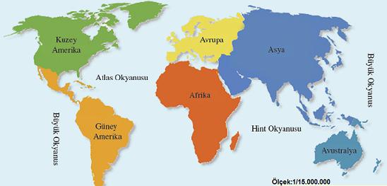 Aşağıdaki Haritayı Inceleyerek Dünya üzerindeki Kıtaların Ve