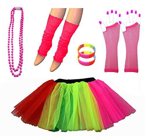 Neon Tutu Skirt Leg Warmers Fishnet Gloves Necklace Beads