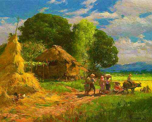 Fernando Amorsolo Village Scene 1947