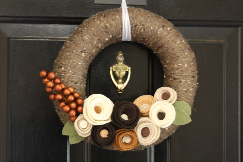 Yarn Wreath Handmade Decoration- Vintage Brown 12 inch