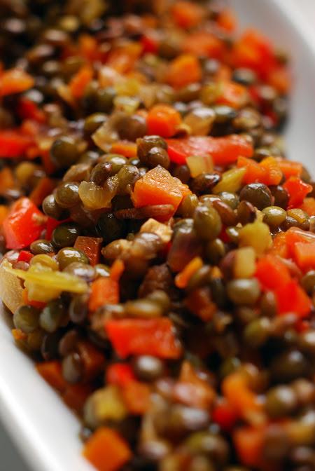 braised puy lentils