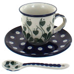 Polish Pottery Alyce Espresso Cup & Saucer with Spoon