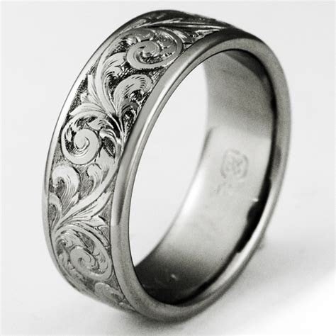 exeter  titanium ring  scrollwork titanium wedding