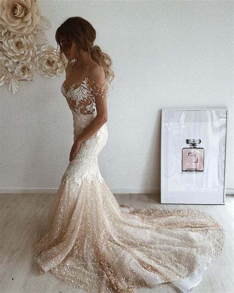 Champagne Off the Shoulder Embroidered Lace Mermaid Bridal