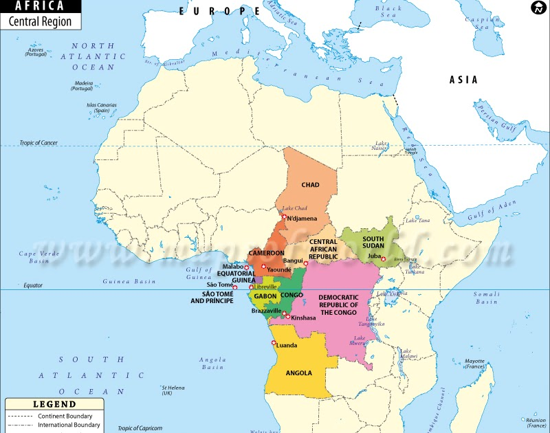 Central Africa Political Map   Map Of Africa