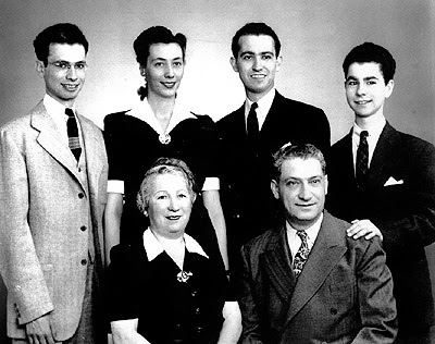 Dr. Jonas Salk and his family. Salk's parents, Dora and Daniel, seated. Standing, from left to right: his brother Herman; wife, Donna; Dr. Jonas Salk; and his brother Lee. (Courtesy of the family of Jonas Salk)