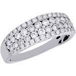 10K White Gold Diamond Wedding Band Graduated Stones Anniversary Ring 1 Ct
