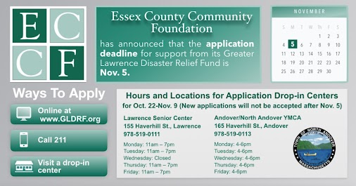 #MVGasFire Update: Greater Lawrence Disaster Relief Fund Application Deadline is November 5th @ECCFGives...